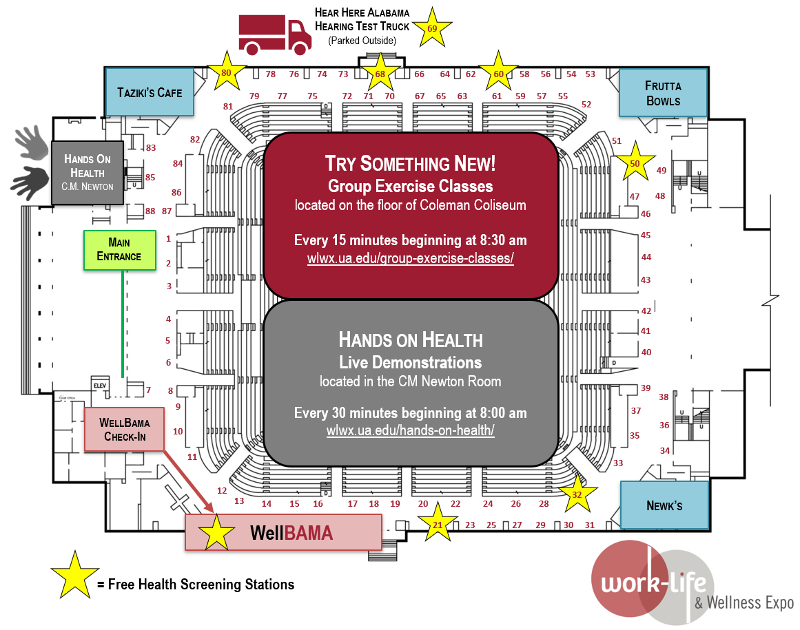Numbered Map of Coleman Coliseum